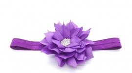 Bbyhaarbandje met bloem en strass steentje paars