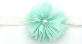 Babyhaarbandje met grote bloem mintgroen