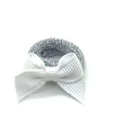 Baby elastiekje zilver met wit strikje