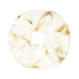 Scrunchies  wit met veertjes goud