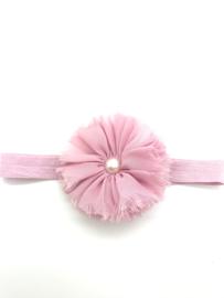 babyhaarbandje met bloem oud roze