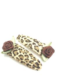 Haarspeldjes leopard en roosjes bruin