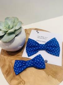 Doggy/cat bow tie kobalt blauw met stipjes