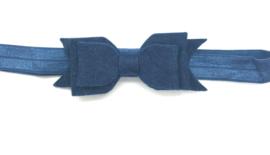 Babyhaarbandje marine blauw met vilten strikje