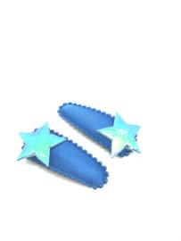 Baby/peuter haarspeldjes kobalt blauw met sterretjes