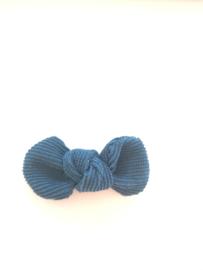 Strikje ribfluweel petrol blauw