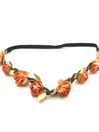 Haarbandje in gevlochten leder met zalmroze bloemetjes en gouden blaadjes