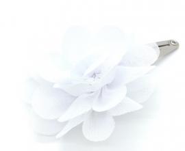 Haarspeldje met chiffonbloem wit