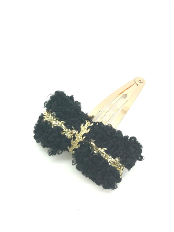 Haarspeldje met strikje goud/zwart