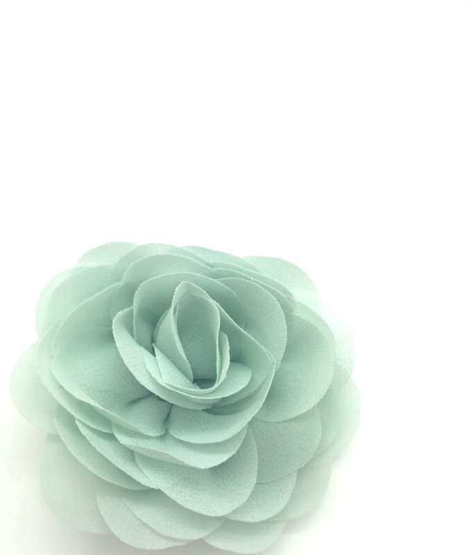 Haarspeldje met chiffon roosje mintgroen