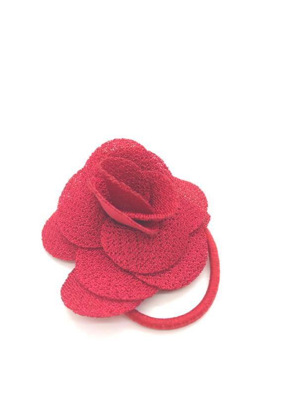 Elastiekje met klein roosje rood