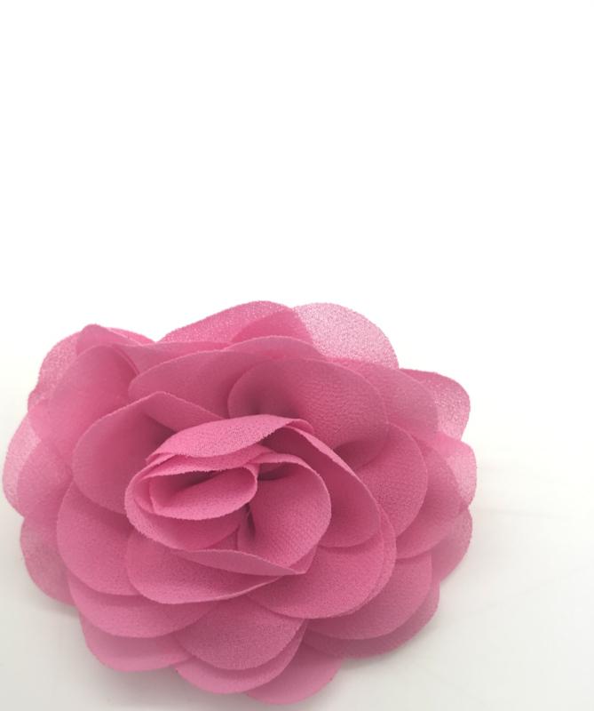 Haarspeldje met chiffon roos roze