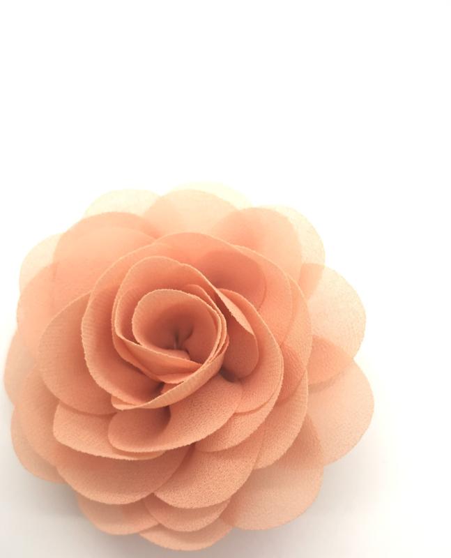 Haarspeldjes met chiffon roosje peach