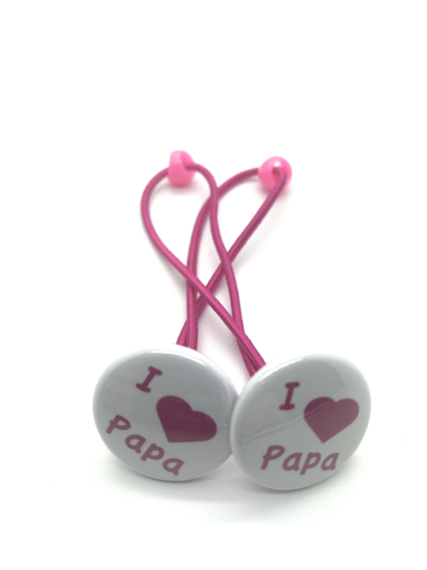 Elastiekjes  met buttons i love papa