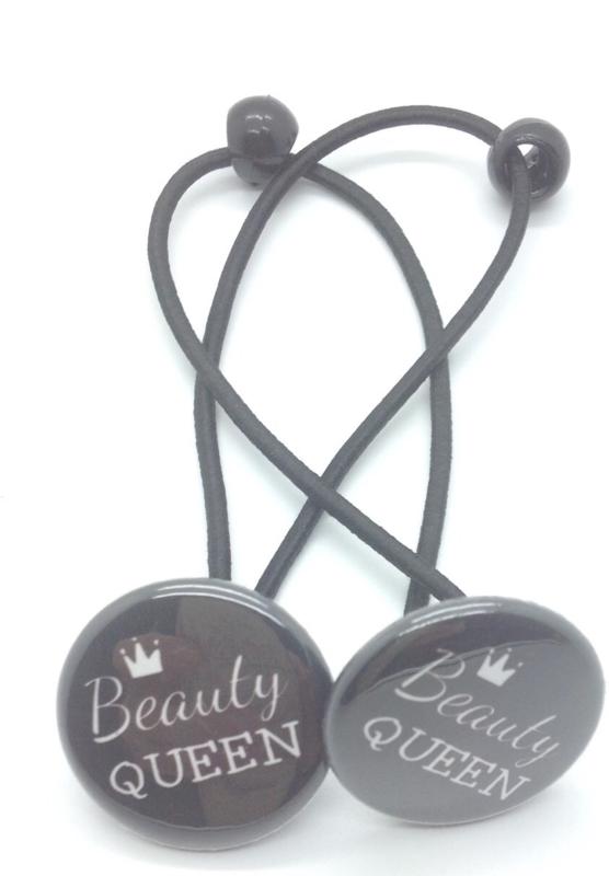 Elastiekjes met buttons beauty queen
