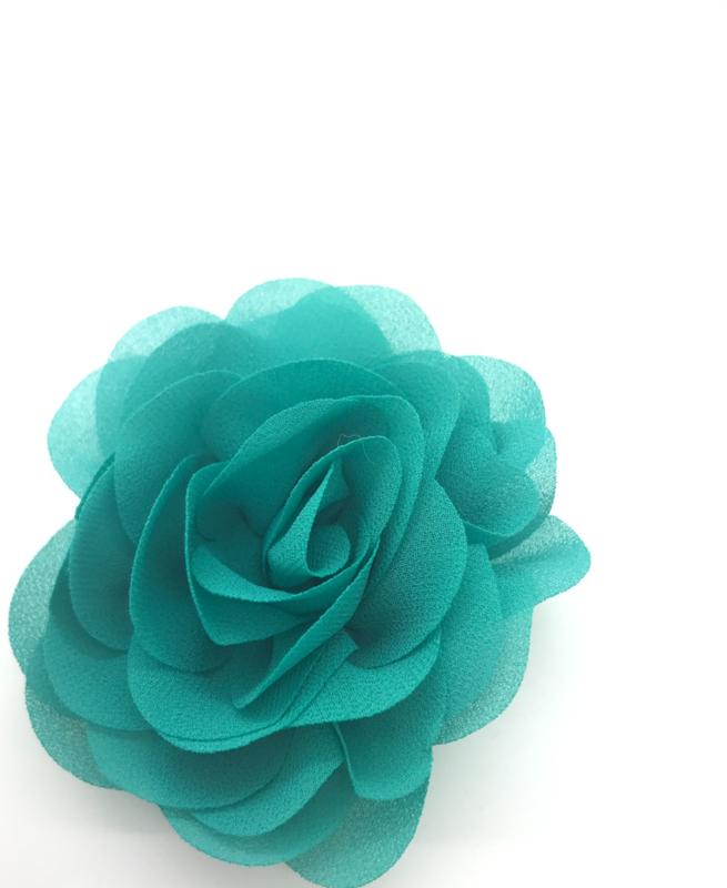Haarspeldje met chiffon roos zeegroen