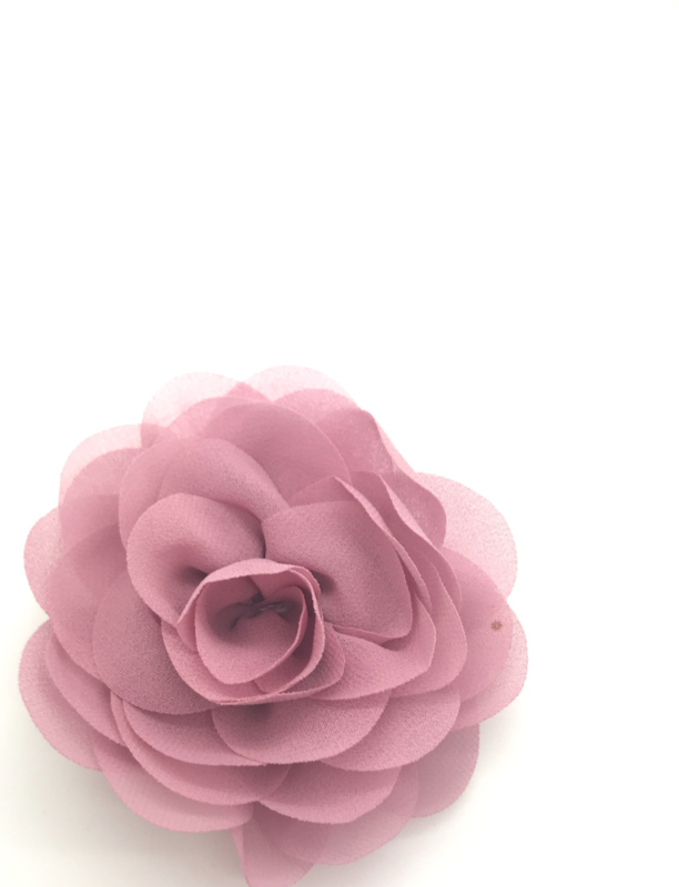 Haarspeldje met chiffon roosje oud roze