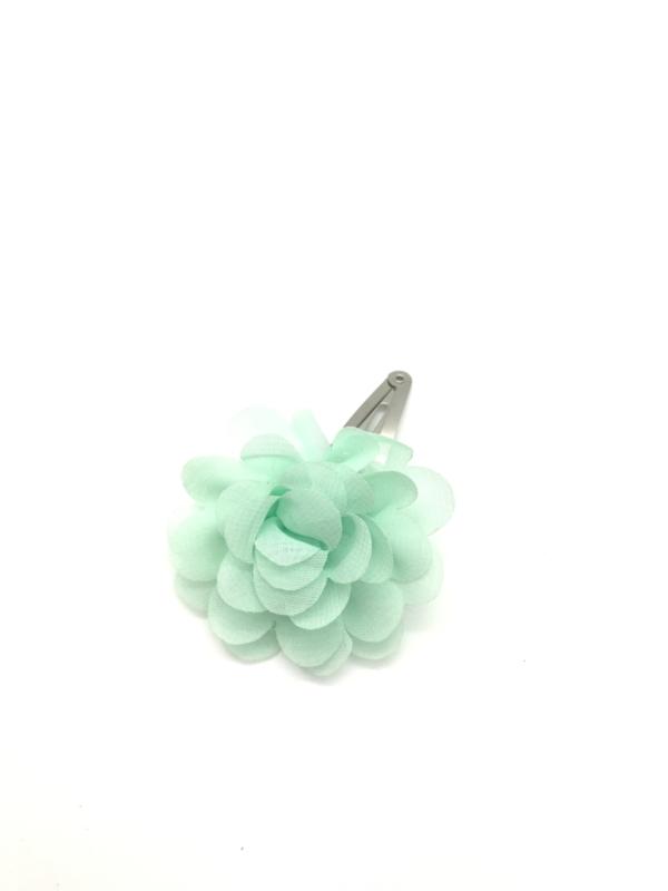 Haarspeldje met chiffonbloem mintgroen