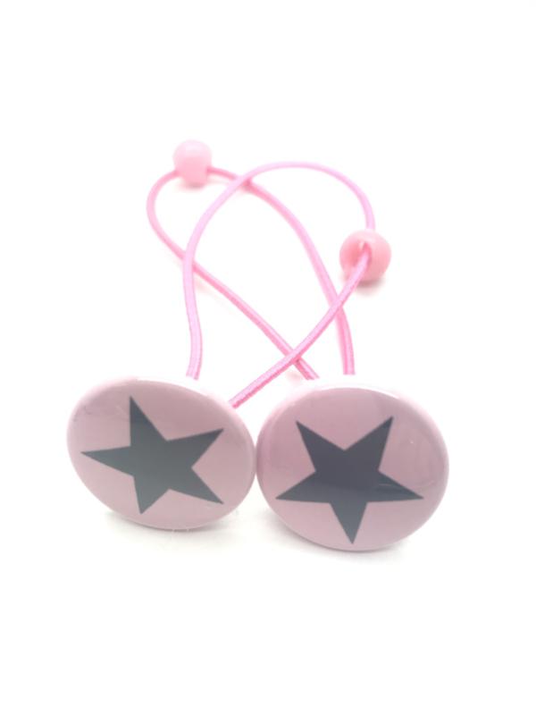 Elastiekjes met buttons lichtroze / ster