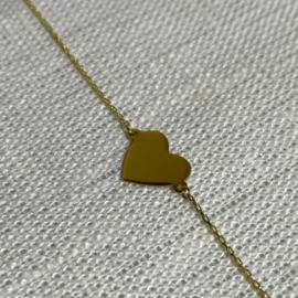 14 karaat goud armband hartje