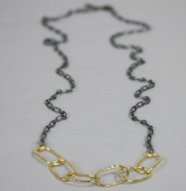 Jeh Jewels collier zilver/oxy/goldfilled