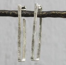 Jeh Jewels oorstekers zilver creool rechthoek