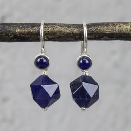 Jeh Jewels oorhangers zilver met lapis/sodaliet