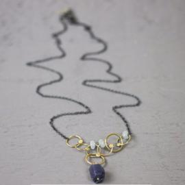 Jeh Jewels collier zilver oxy + goldfilled + saffier en aquamarijn