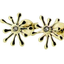 Jeh Jewels 14kt geelgoud oorstekers, sparkle + diamantje