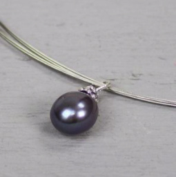 Jeh Jewels hanger zilver - zoetwaterparel donker grijs