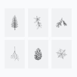 Inkylines postcard set, Winter