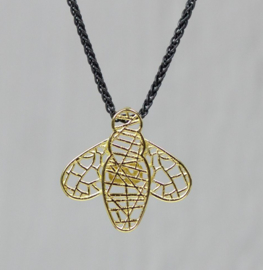 Jeh Jewels collier zilver oxy + hanger 14kt bijtje
