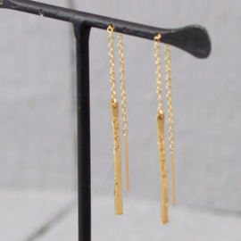 Jeh Jewels oorhangers goldfilled staafje