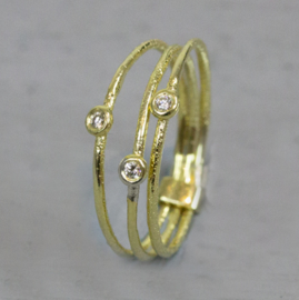 Jeh Jewels 14kt gold ring, set of three with diamonds
