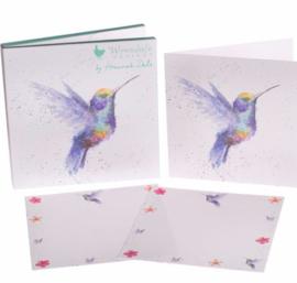 Wrendale, writing set, 12 cards and envelopes, hummingbird