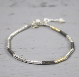 Jeh Jewels armband zilver/oxy/goldfilled