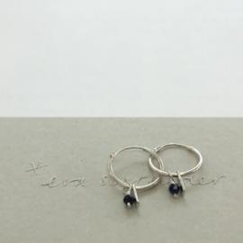 Eva Schreuder oorringen - Aube Lapis Lazuli, zilver