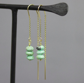 Jeh Jewels threaded earrings silver goldplated and turquoise