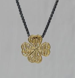 Jeh Jewels collier zilver oxy + hanger 14kt klavertje vier