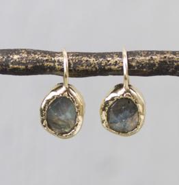Jeh Jewels oorhangers zilver verguld labradoriet ovaal
