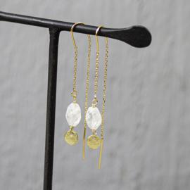 Jeh Jewels oorhangers goldfilled maansteen