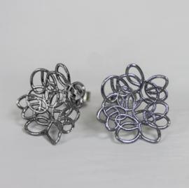Jeh Jewels oorstekers zilver oxy bloem