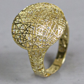 Jeh Jewels 14kt gold ring 3D printed, sphere