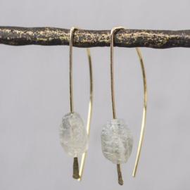 Jeh Jewels oorhangers goldfilled + ruwe labradoriet