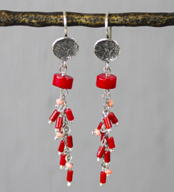 Jeh Jewels dangle earrings silver + bamboo coral