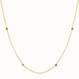 Flawed - peach moonstone collier zilver verguld