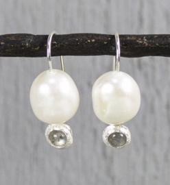 Jeh Jewels oorhangers zilver witte parel en labradoriet