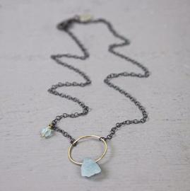 Jeh Jewels collier zilver oxy + goldfilled + aquamarijn