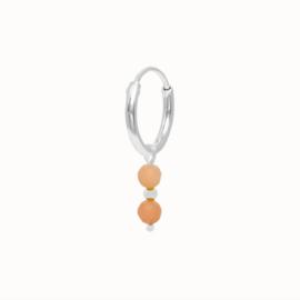 Flawed oorring Peach Moonstone, zilver