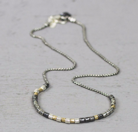 Jeh Jewels collier zilver/oxy/goldfilled buisjes